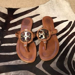 Tory Burch Brown Leather Miller thong